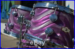 Vintage 70s Purple Moire Camco Drum Set withsnare, Chanute Era 12 13 16 20 14