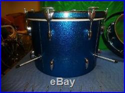Vintage Gretsch Round Badge Progressive Jazz Drum Set Blue Sparkle Glitter
