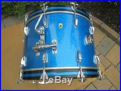 Vintage Ludwig Super Classic 13 16 22 Drum Set Blue Sparkle Keystone 1960's