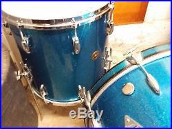 Vintage Orig Gretsch Round Badge Early 60s 13/16/22 Drumset Sparkle Blue Nice