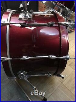 Vintage Premier Red Wine Drum Set 3 Pieces Used