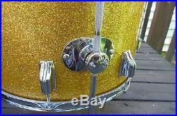 Vintage Rogers Drum Set 4 Piece Londoner Gold Sparkle Ohio Drums12,13,16,20