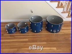 Vintage Rogers Drum Set Blue Glass Glitter Fullerton Tags