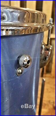 Vintage Slingerland Aqua Satin Flame Drum Set 60's Era