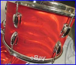 Vintage Slingerland Red Satin Flame Drum Set 20 12 14 Player's Kit Nov. 1965