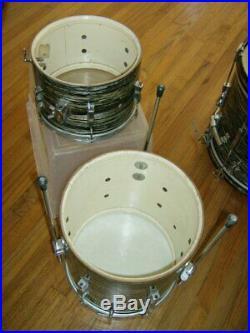 Vintage original mid-1960s Ludwig Club Date Black Oyster Drum Set Kit, Ringo