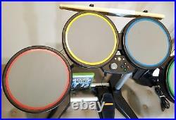 XBox 360 Rock Band 822149 Wired Drum Kit Set & Guitar & Game FREE SHIPPING