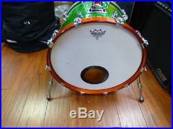 Yamaha Beech Custom 4 piece drum set Rare Lime Green Made In Japan + Bags