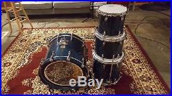 Yamaha Maple Custom Absolute 4pc Drum Set Natural Blue Finish, MIJ