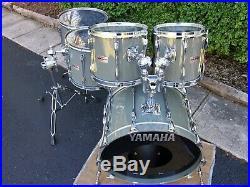 Yamaha Recording Custom Drum Set 10 12 14 16 22 Quartz Gray 1988 Made In Japan