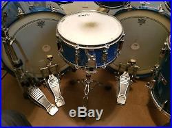 Yamaha Tour Custom Double Bass Drum Set. EXTRAORDINARY! Circa 1982 Cobalt Blue