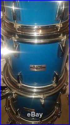 Yamaha Tour Custom Drum Set 8000 1980's 10 12 14 16 22 Blue Cobalt 80s